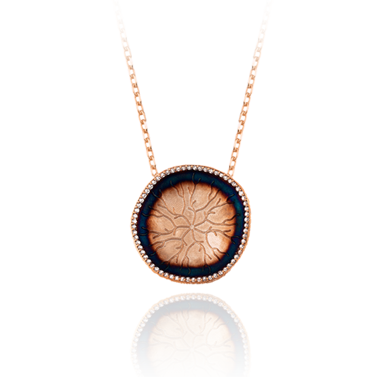 Pendant with Hanging Coral Imprinted Disc
