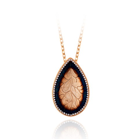 Pear Drop Coral Imprint Pendant