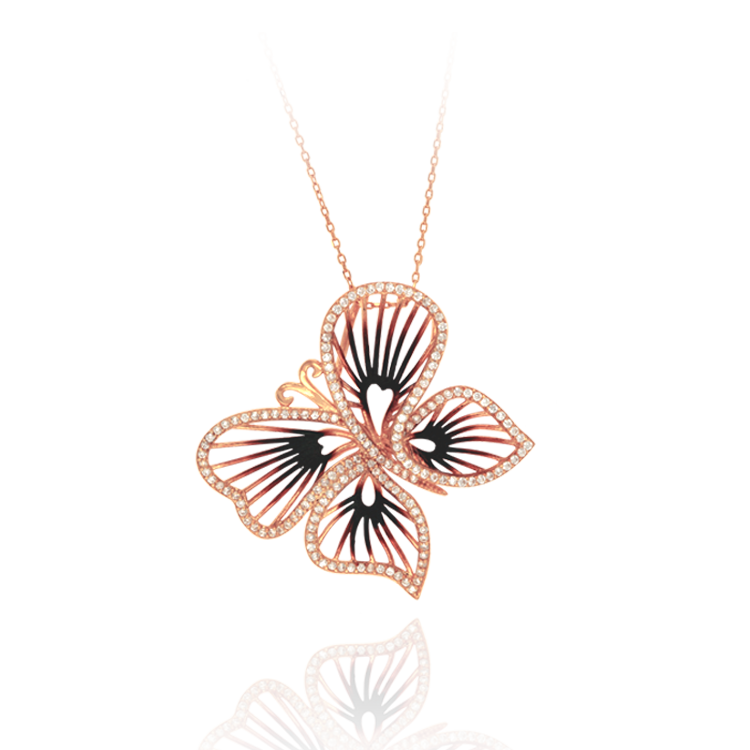 Wire Butterfly Ember Pendant