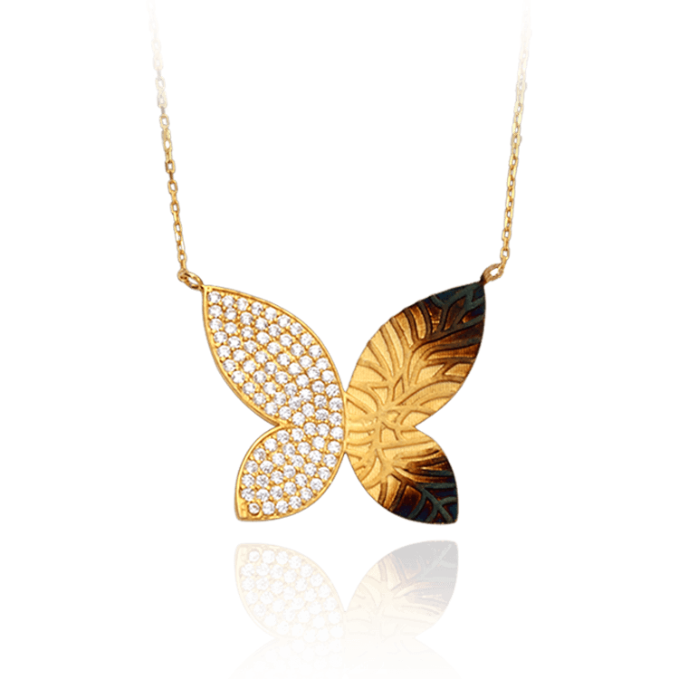 Hanging Butterfly Ember Necklace