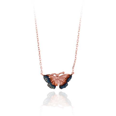 Delicate Butterfly Pendant with Ember Tones
