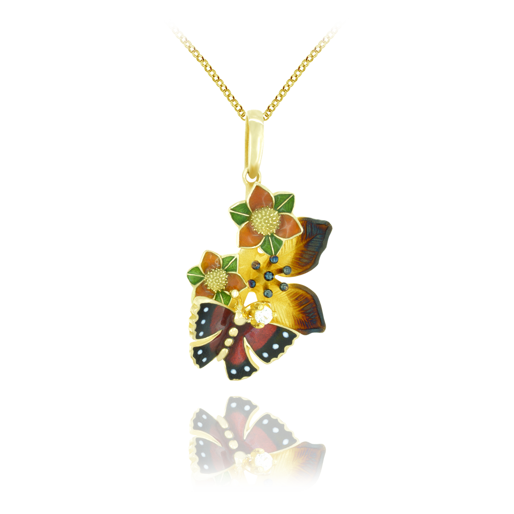 Enamel Flower and Butterfly Pendant