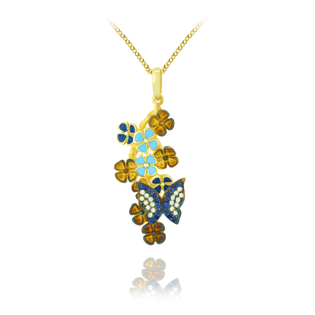 Sparkling Butterfly and Enamel Pendant