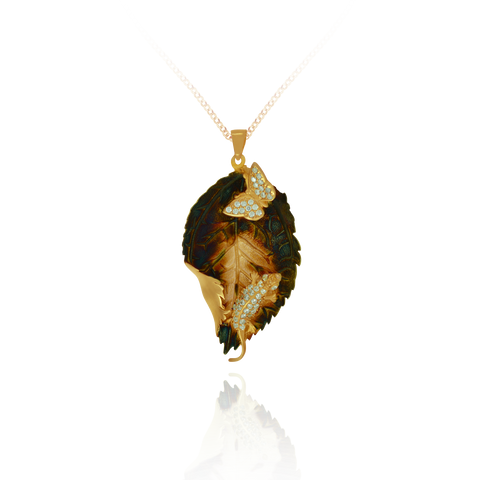 Ember Coral Imprinted leaf with Sparkling lizard and butterfly Pendant