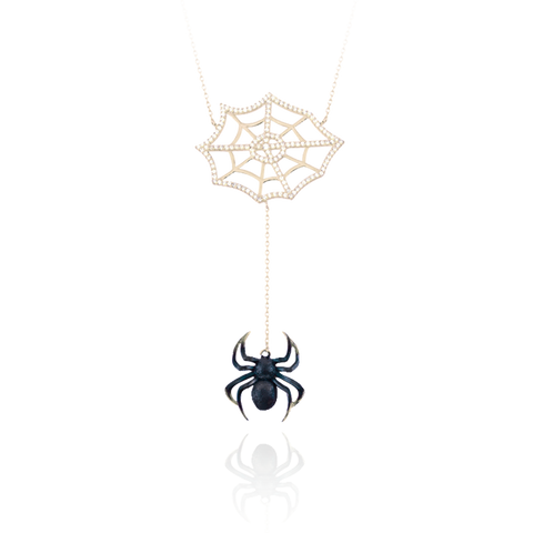 Small Burnt Web Spider Drop Necklace