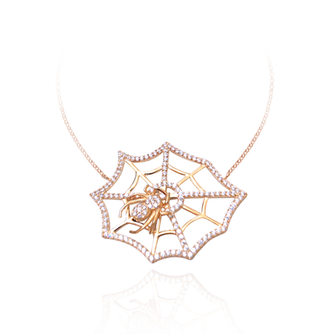 Small Hanging Web with Spider Necklace