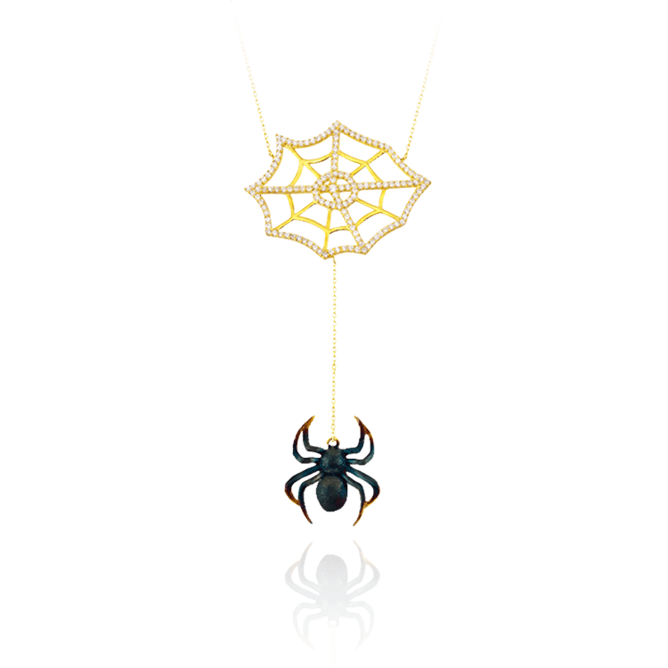 Web with Hanging Spider Necklace