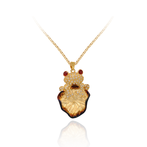 Tree Frog on Lily Pad Ember Pendant