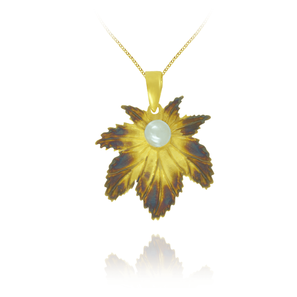 Ember Leaf with Pearl Pendant