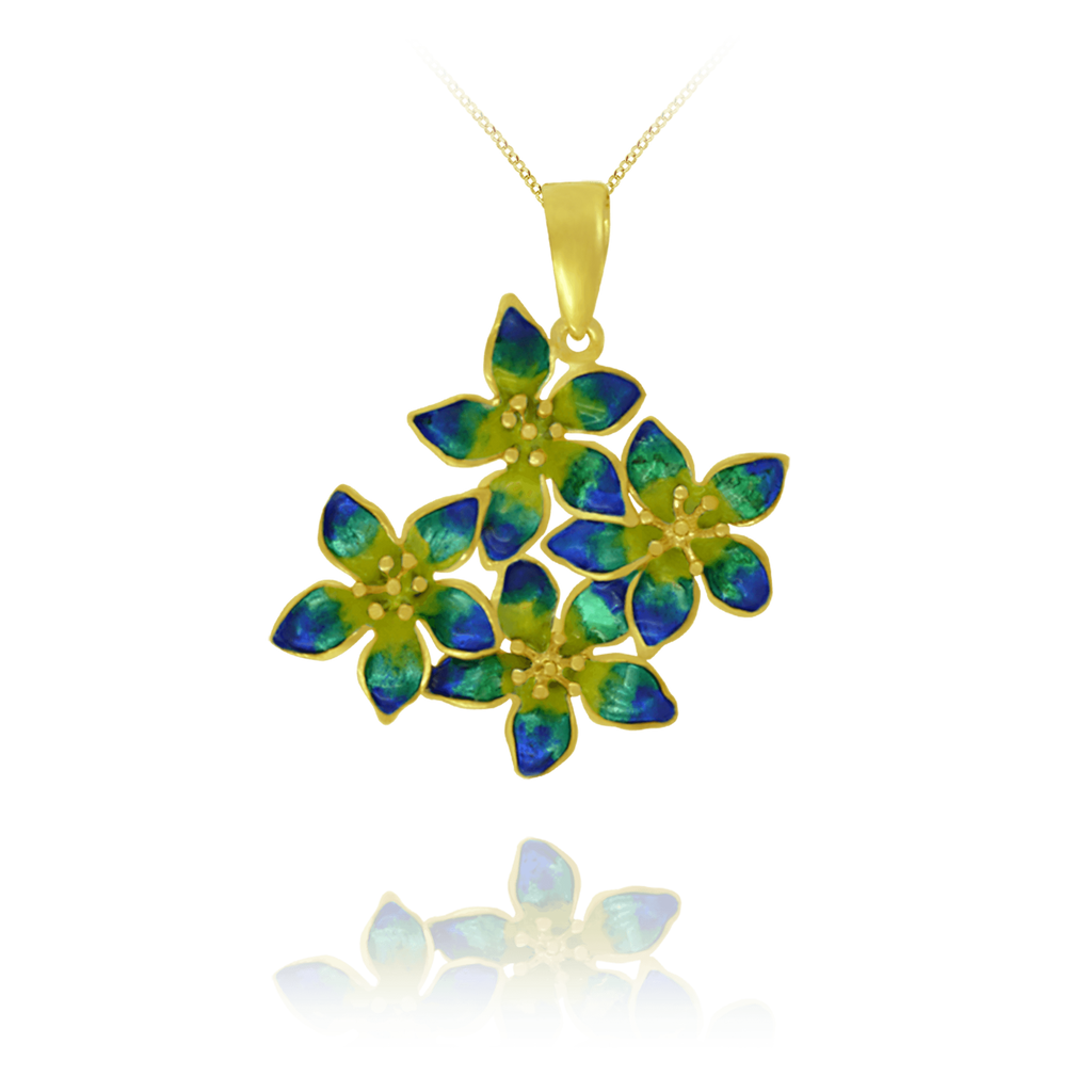Flower Pendant with Enamel Detail