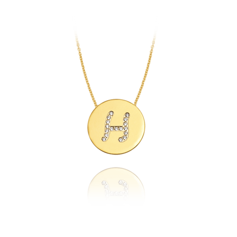 Gold Accented Scripted Initial Disc With Diamonds