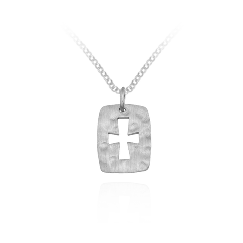 Hammered Finish Cross Pendant