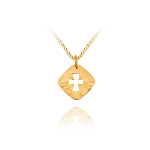 Hammered Finish Square with Cross Pendant