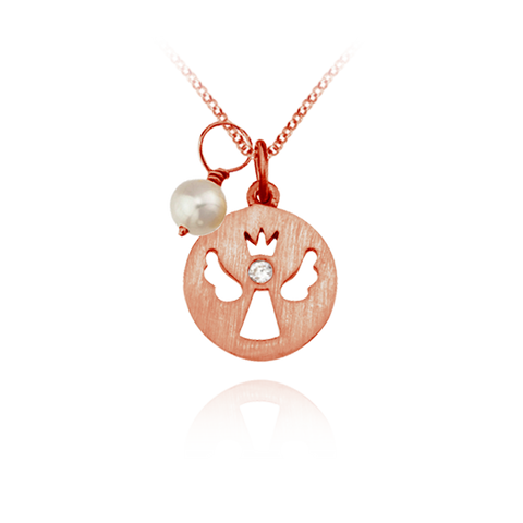 Angel Pendant with Pearl Charm