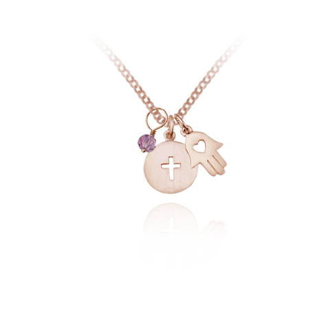 Cross and Hamsa Pendant