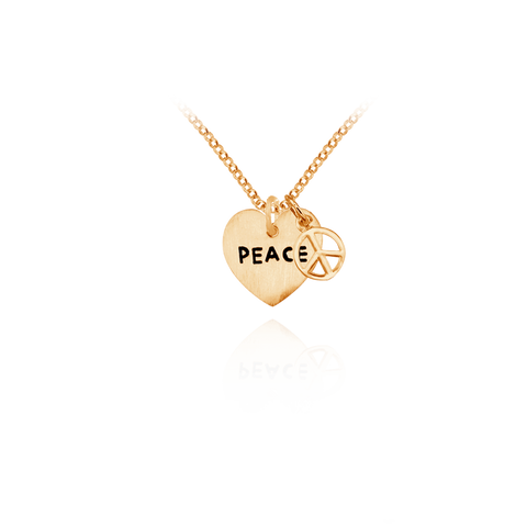 Heart Charm and Peace Sign Pendant