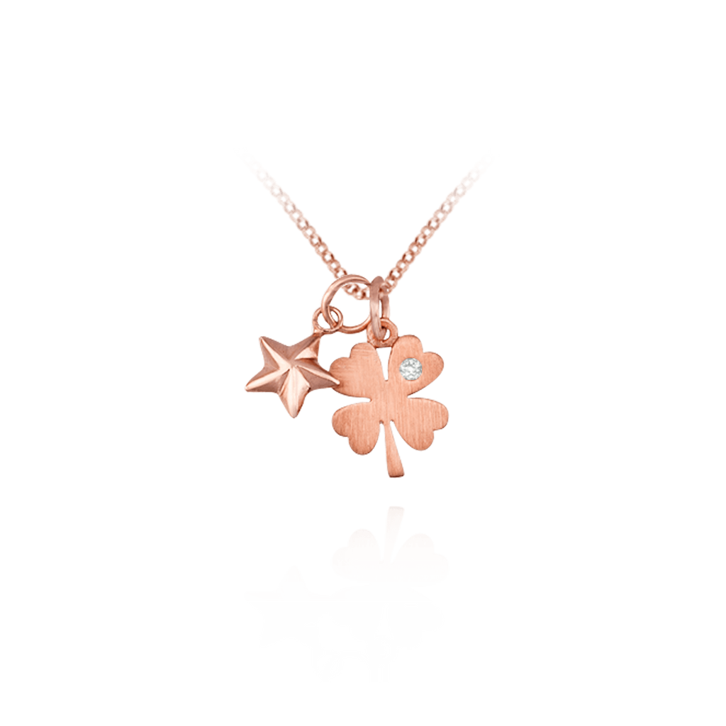 Pendant with four leaf clover charm karina ariana pendant with four leaf clover charm mozeypictures Image collections