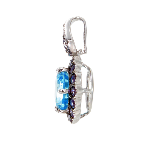 Vintage Inspired Pendant in Aquamarine & Purple CZ