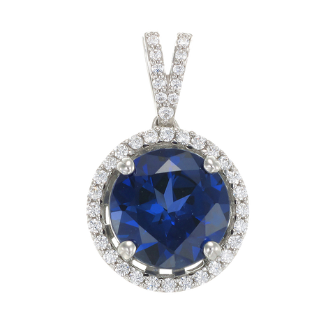 Classic Round Blue Sapphire Pendant with Halo