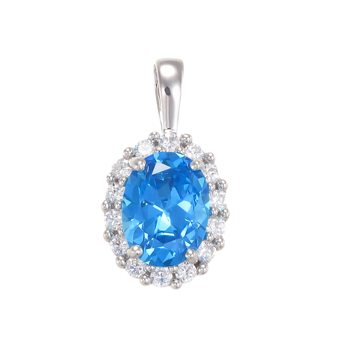 Delicate Sparkling Blue Pendant with Halo