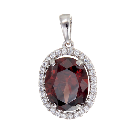 Classic Garnet Pendant with Halo