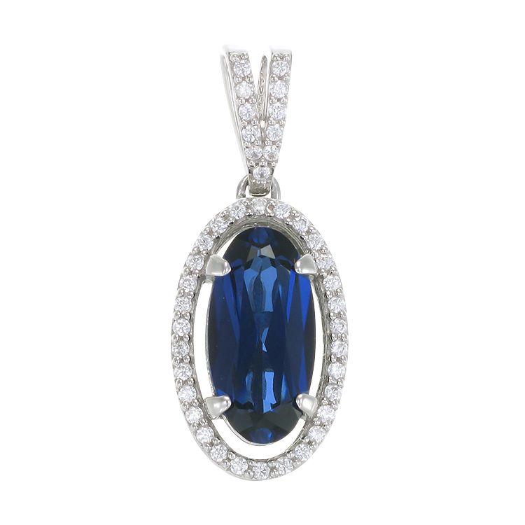 Oval Blue Sapphire Pendant with Halo