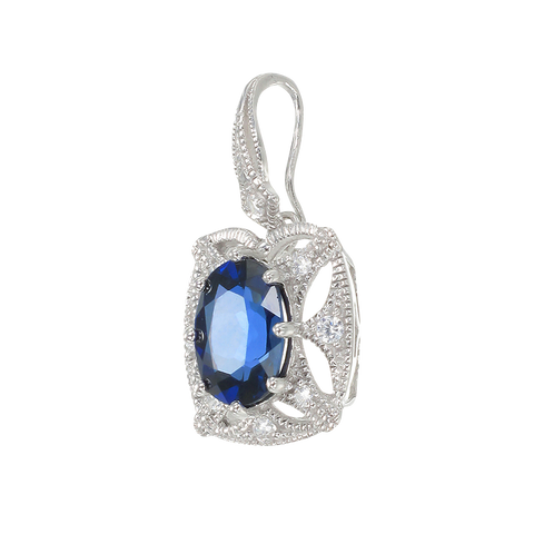Graceful Blue Sapphire Pendant with Filigree Detail