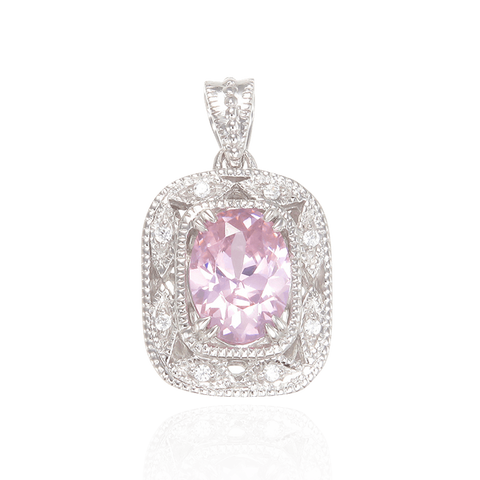 Deco Inspired Pink CZ Pendant