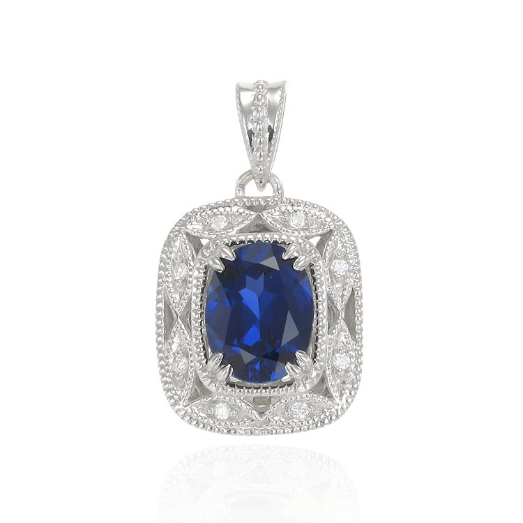 Deco Inspired Blue Sapphire Pendant