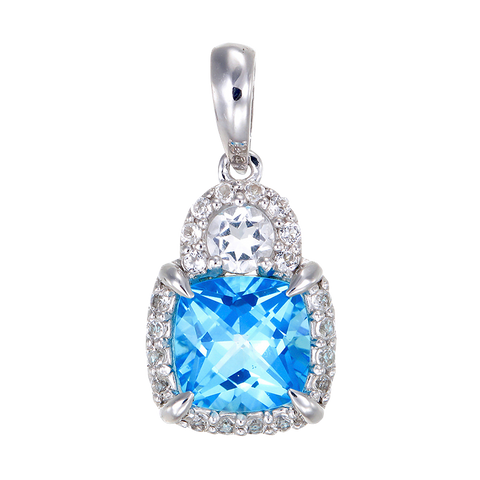 Shimmering Cushion Cut Pendant with Natural White Topaz
