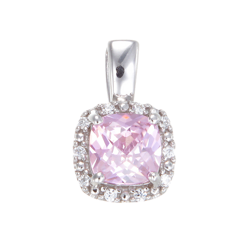 Dazzling Pink Pendant with Sparkling Halo