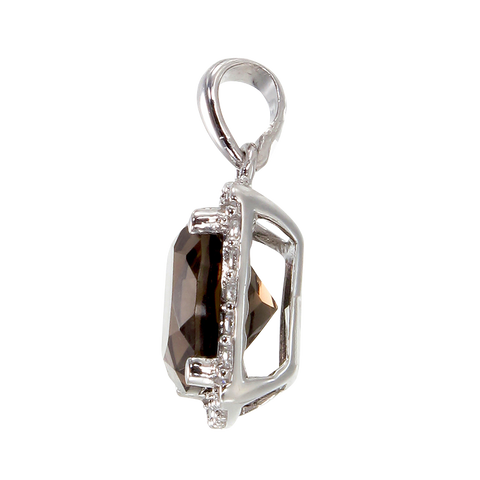 Sophisticated Luscious Natural Smoky Quartz Pendant with Halo