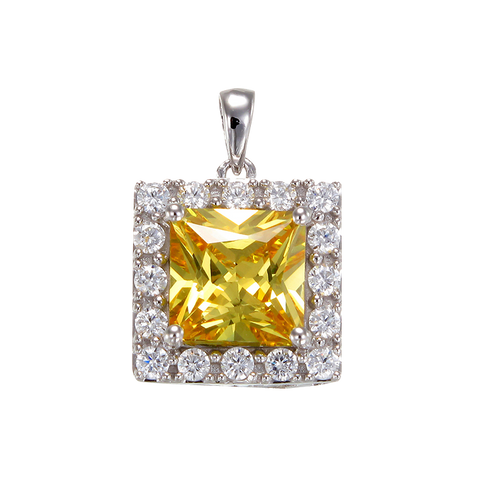 Brilliant Yellow Pendant with Halo