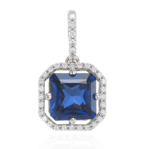 Elegant Sparkling Sapphire Blue Pendant with Halo