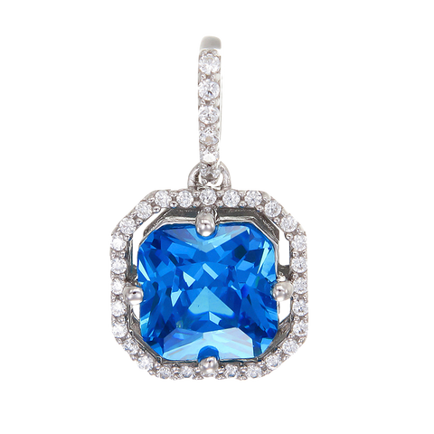 Elegant Sparkling Blue Pendant with Halo