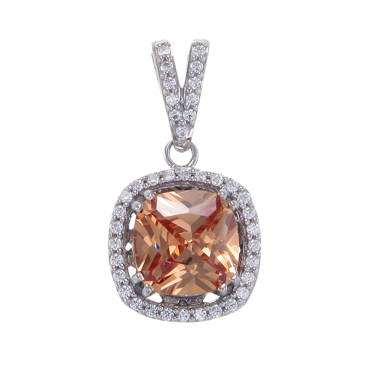 Delightful Champagne Pendant with Halo