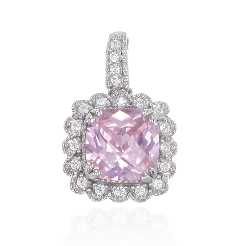 Classic Pink Pendant with Accented Setting
