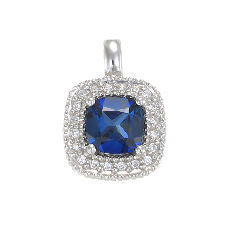 Sapphire Pendant with Radiant Accents