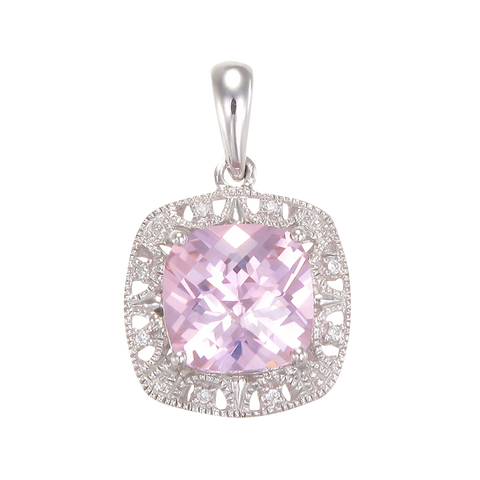 Shimmering Pink Pendant with Halo