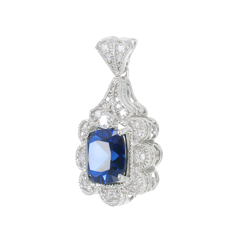 Blue Sapphire Pendant with Scalloped Halo