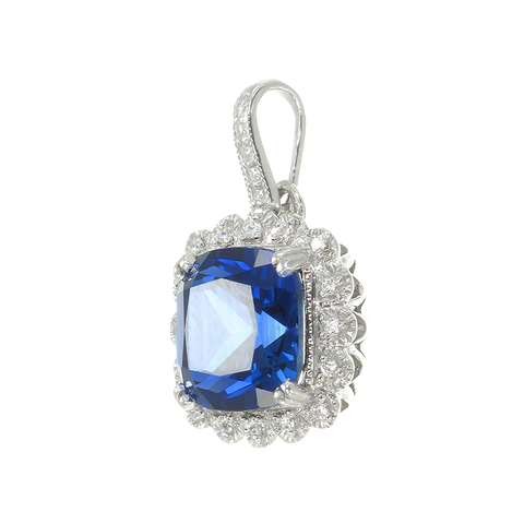 Classic Sapphire Pendant with Accented Halo
