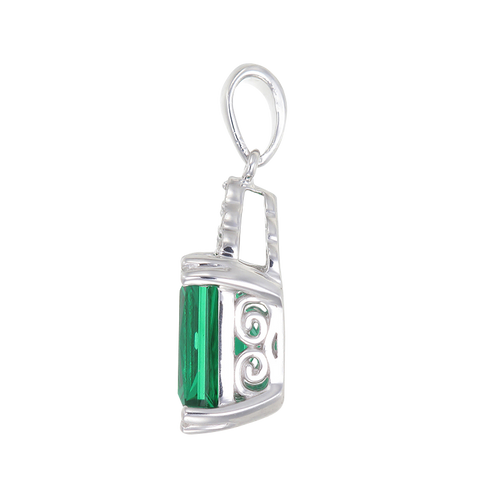 Green Alpinite Emerald Cut Cluster Pendant
