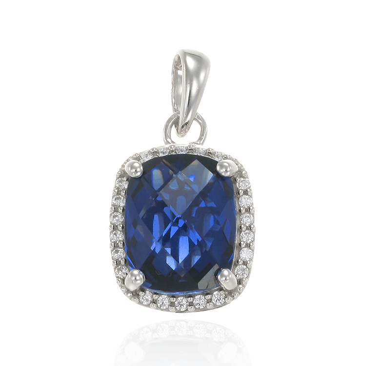 Luscious Blue Sapphire Pendant with Halo
