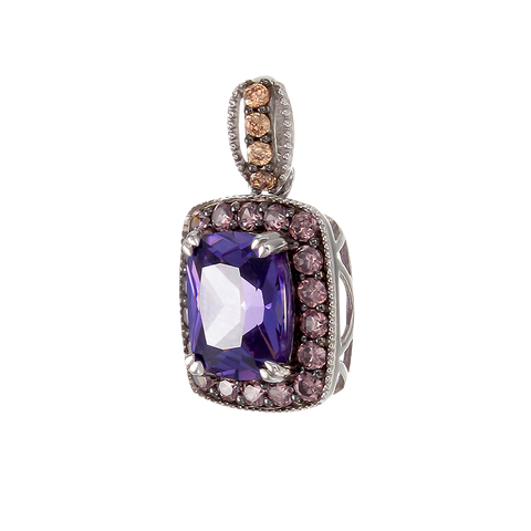 Luscious Vintage Inspired Amethyst, Rhodolite and Champagne Pendant