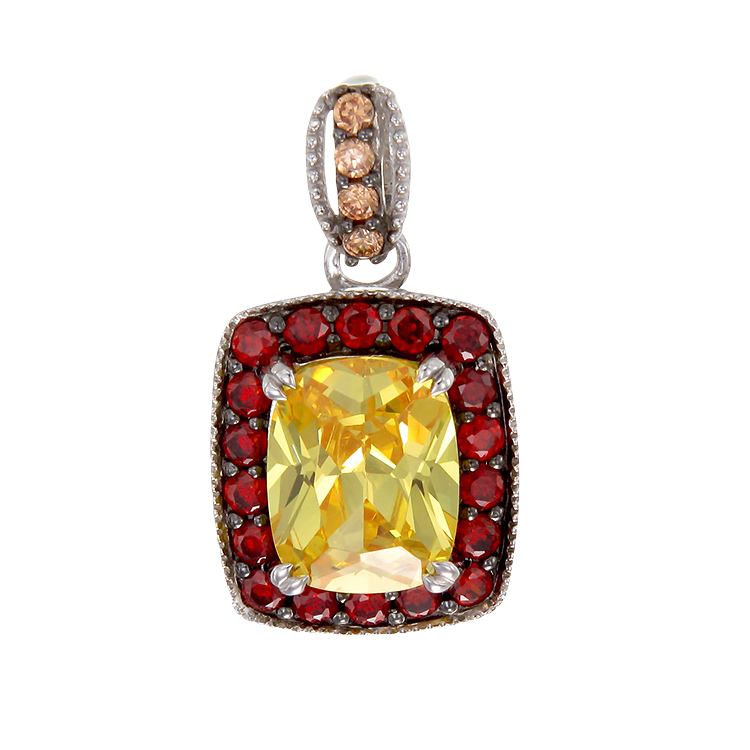 Luscious Vintage Inspired Yellow, Garnet and Champagne Pendant