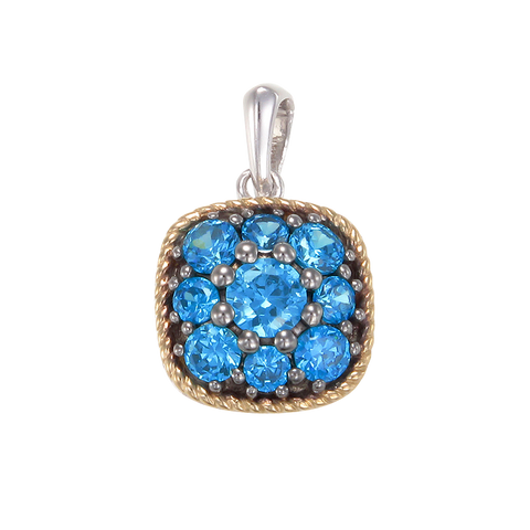 Azure Blue Pendant with 18K Yellow Gold Finished Rope Detail