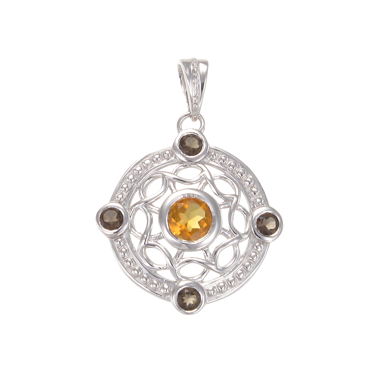 Graceful Eastern Inspired Natural Citrine and Smoky Quartz Pendant