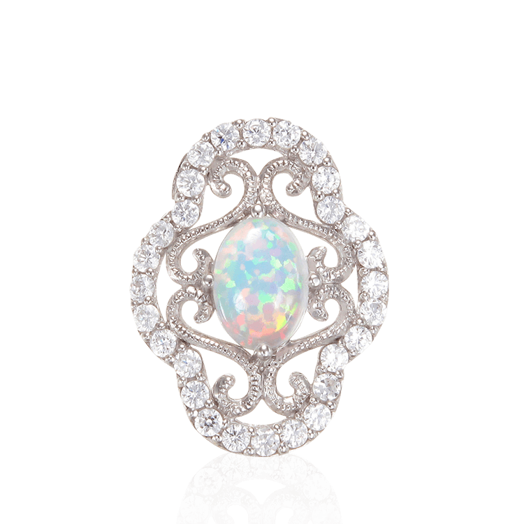 Floating Arabesque Filigree Opal Pendant