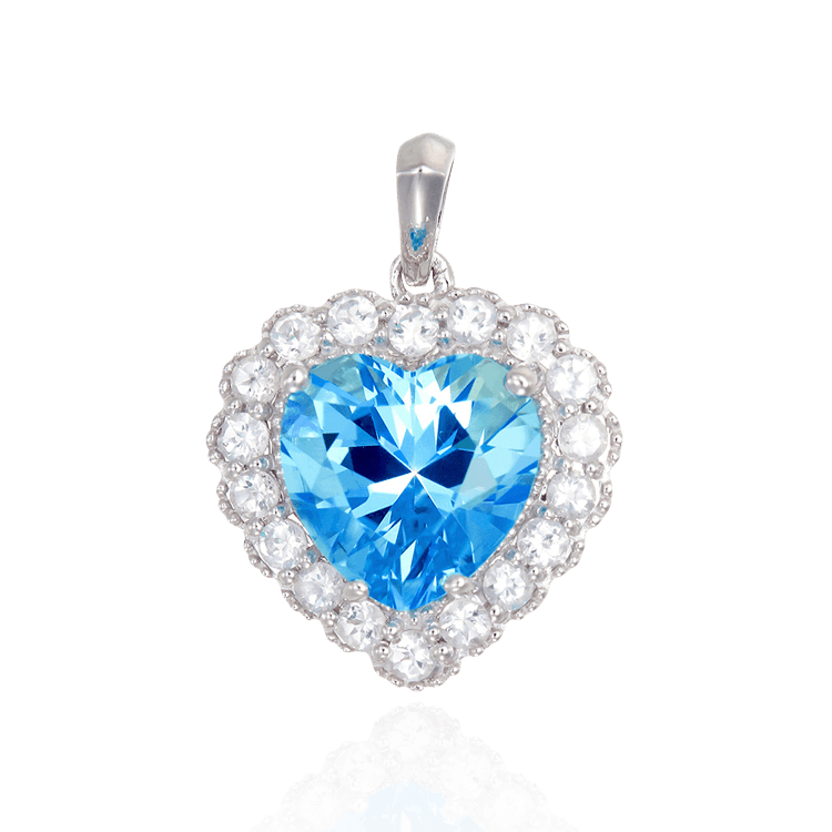 Sparkling Heart Passion Topaz Pendant with Halo