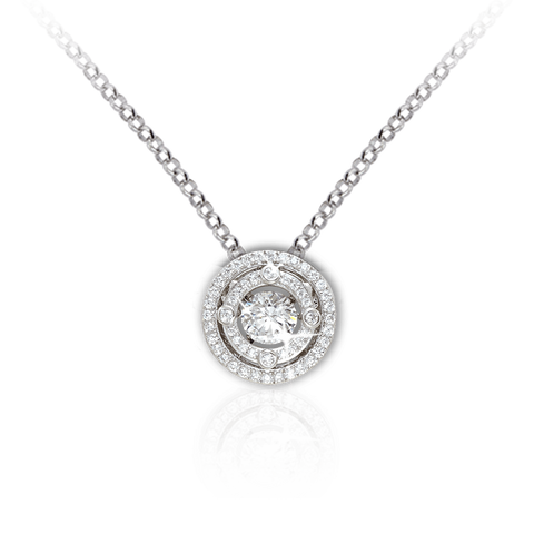 Double Halo Pendant with Swarovski Zirconia